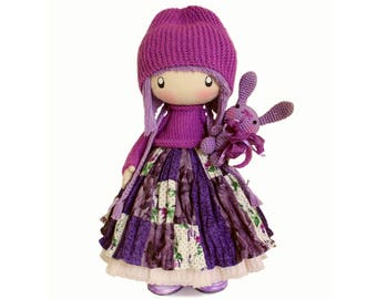 Kids Gift Rag doll Zooey READY TO SHIP Cute Cloth doll Fabric doll gift for birthday handmade doll purple hair ragdoll gift ideas for her
