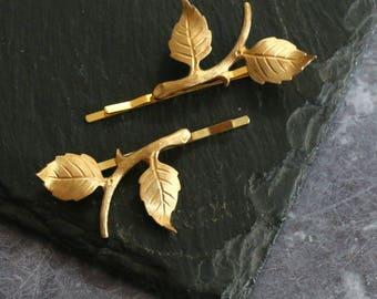 Gold Branch Hair Grips
