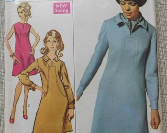 Lined, A-Line Dress with Front Seam Interest in Size 12 Complete Vintage 60s Simplicity Sewing Pattern Designer Fashion
