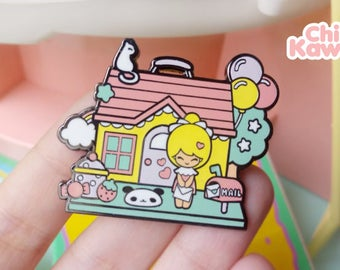 Chic Kawaii Dollhouse enamel pin.