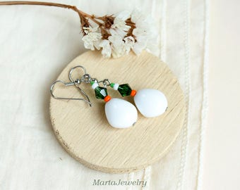 Glass earrings, white green orange, minimalist, bohemian style, boho chic, drop, everyday, office, casual, one bead, summer gift for her