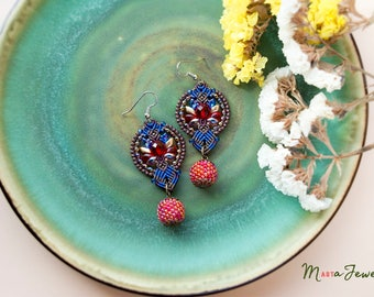 Lotus flower, berry, macrame earrings, beaded beads, beadwork, beadwoven, red blue brown gold, unique, elegant, dressy, special occasion