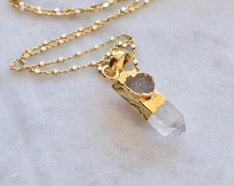Quartz point necklace, gold quartz necklace, quartz druzy necklace, gold gemstone necklace, druzy necklace