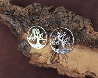 Tree Of Life Silver Earrings, Spiral Earrings, Ethnic Earrings, Boho Earrings, White Brass Earrings, Boucles d'oreille Laiton Arbre De Vie