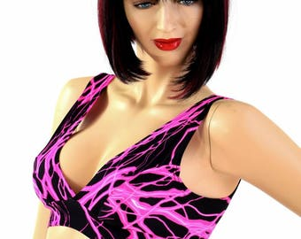 UV Glow Pink Lightning Print Starlette Bralette Spandex Rave Festival Clubwear 154582