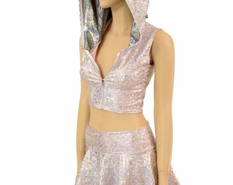 Baby Pink & Silver Mermaid Scale Sleeveless Zipper Front Crop and Rave Skirt Set w/Silver Holographic Spikes and Hood Liner 154874