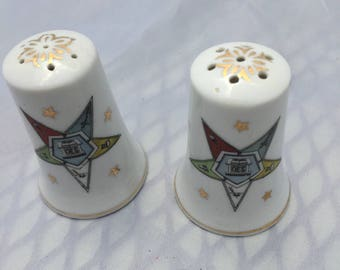 Vintage Masonic Eastern Star Salt and Pepper Shakers, OES Hand Painted Lefton 1960s S & P Shakers