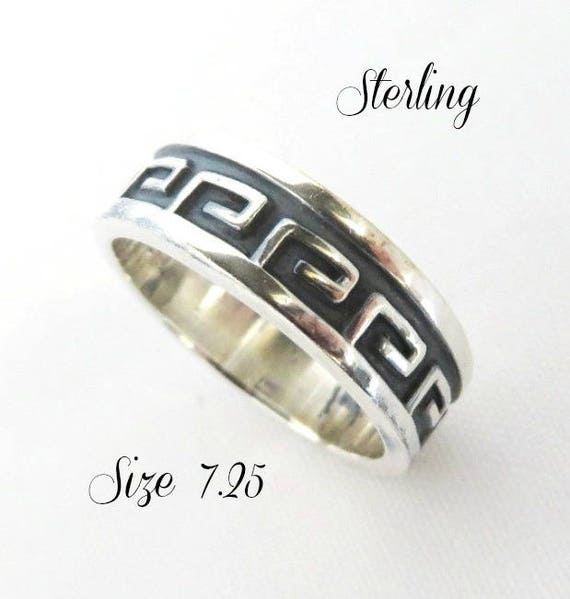 Vintage Greek Key Ring, Taxco Mexico Sterling Silver Band Ring, Size 7.25