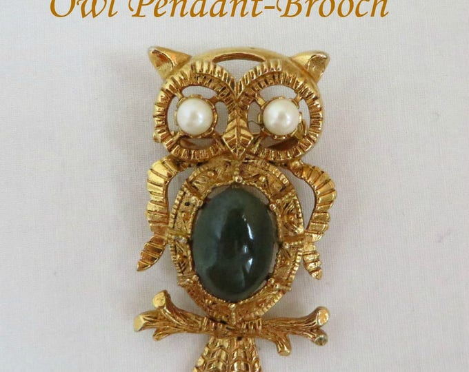 Owl Pendant Brooch, Vintage Gold Tone Jade Glass Brooch, Faux Pearl Eyed Owl Pin, FREE SHIPPING