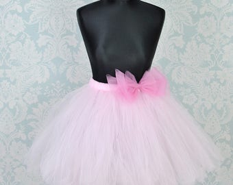 Pink Tutu, Adult Tutu, Tulle Skirt, Women Tutu, Bow Tutu, Wedding Tutu, Bridal Tutu, Bridesmaids Tutu, Tutu Skirt, Tutu Dress, Long Tutu