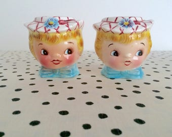 Vintage Lefton Miss Dainty Salt and Pepper Shakers, Lefton Shakers, 1950s Lefton, Ceramic Anthropomorphic Shakers, 1950s Anthropomorphic