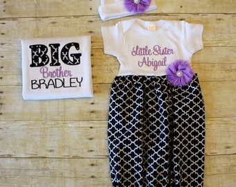 Big Brother Little Sister Set - Black Quatrefoil - Lavender - Newborn Gown - Going Home Outfit - Baby Shower Gift