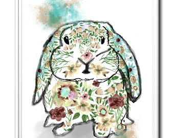 Bunny wall art, limited edition rabbit print. Home decor, easter bunny, nursery art. Wall art, original rabbit art.  Art print, rabbit gift.