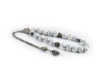 White Howlite Worry Beads, Greek Komboloi, Silver Tone Metal Chain Komboloi, Metal Master Bead