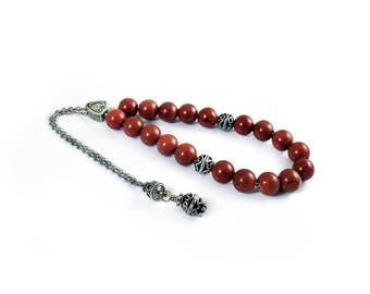 Worry Beads, Komboloi, Jasper and Silver Tone Metal Beads, Christmas Gift ideas