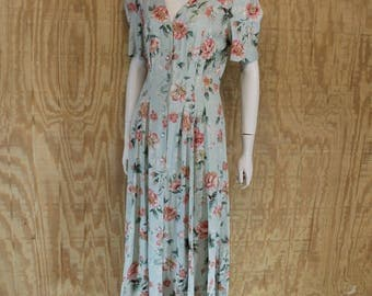 Vintage 1980's MsCHOICE California Celery Green Floral Roses Print 1930's Inspired Dress Large 12