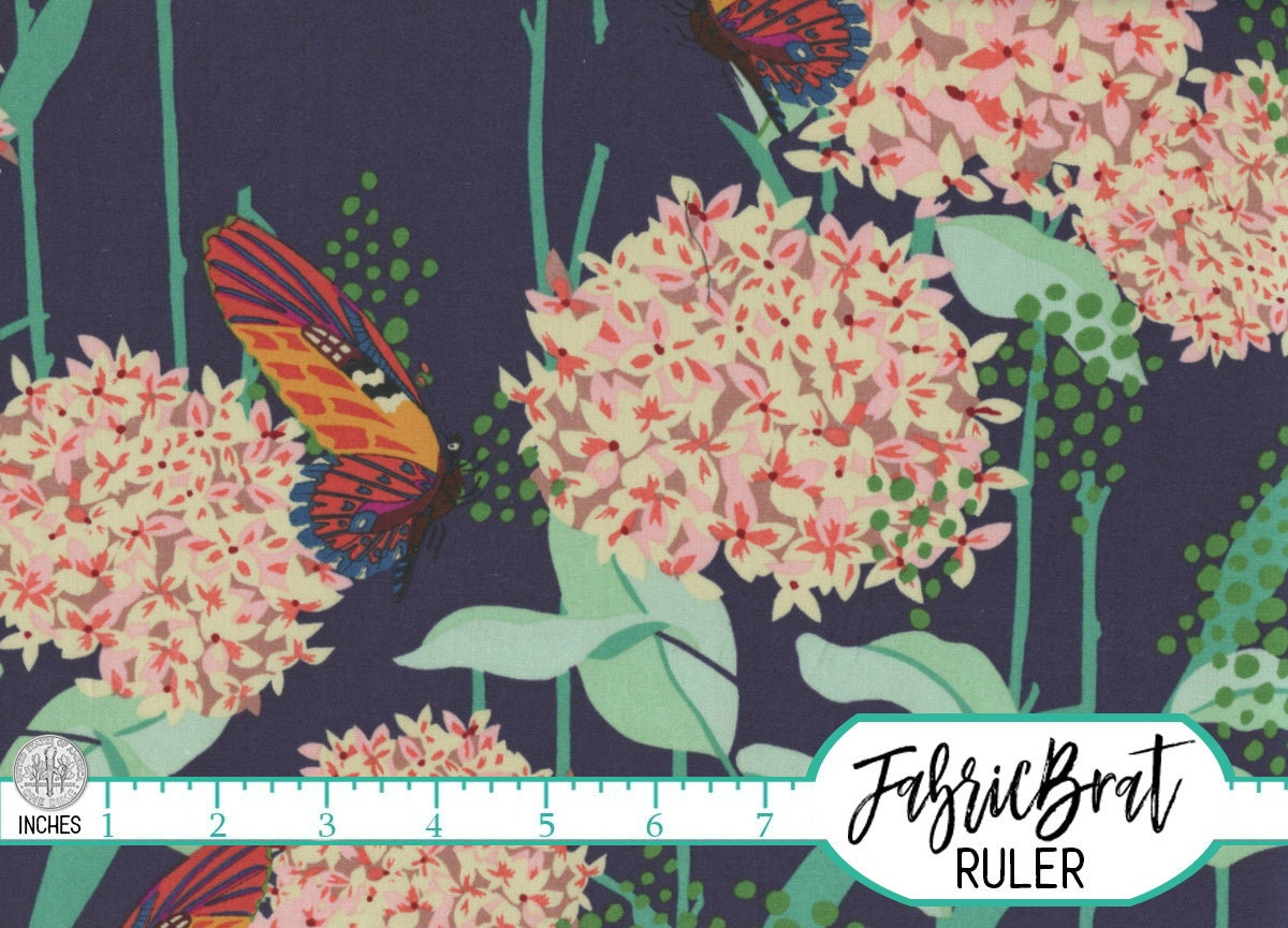 navy blue hydrangea butterfly fabric by the yard fat quarter peach mint big floral fabric 100. Black Bedroom Furniture Sets. Home Design Ideas