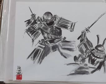 Two samurai battling to the ground