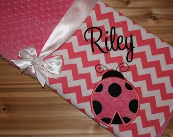 LadyBug Minky Baby Blanket - Personalized Hot Pink Chevron with Pink Minky