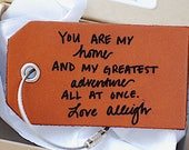 Husband Hubby Anniversary Gift, Leather Baggage Tag, Gifts For Him, Greatest Adventure Gift,  Birthday, Mens Travel Gift,  luggage Bag Tag