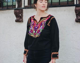 Vintage 60s Floral Embroidered Black Blouse