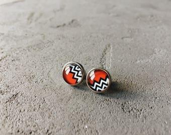Geometry print earrings (red, white, black) by CuteBirdie