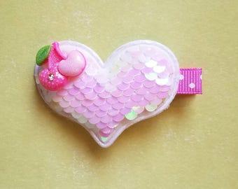 Sequin Heart Hair Clip/Heart/Hair Bow/Girl's Hair Clip/Baby Girl/hair bow/Valentine Hair Bow/Girl's hair bow/Hair Accessory/Sequin/hair