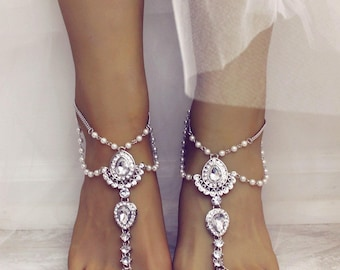 Barefoot Sandals Scarlet Design Beach wedding Sandals Foot Jewelry SIlver Anklet Silver Ankle Bracelet Bridal Sandals Boho  Beach Bride