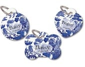 Blue Willow Pet ID Tag, Personalized Dog Cat Name Tag, Vintage Style Blue and White, Custom Tags for Dogs, Pet Owner Gifts, New Puppy Gift