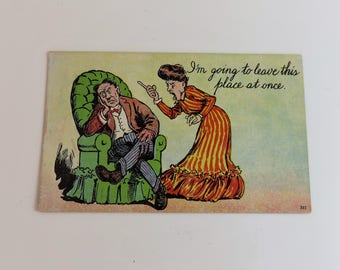 Vintage postcard, paper ephemera, divorce postcard, divorce, novelty, angry wife, gag gift, postcard, post card, funny, one cent stamp