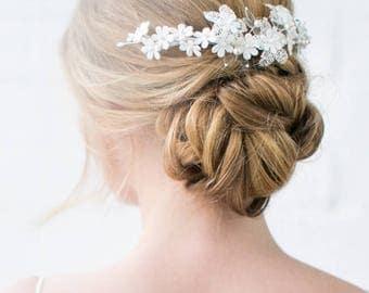 Wide Hair Comb - wedding headpiece, bridal wide hair comb, bridal headpiece, pearls, handmade flowers