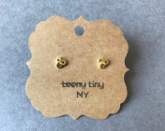 Gold Tiny Pretzel Stud Earrings - Gold plated over Sterling Silver