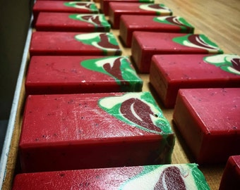 Strawberry Cough Handcrafted Cold Process Vegan Soap - Strawberry, Poppy Seed, Green, Burgundy