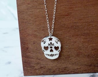 Sugar skull jewelry, skeleton necklace sterling silver, Mexican jewelry, day of the dead, fantasy pendant, gift for women