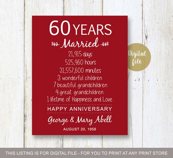Gifts For 60th Wedding Anniversary: 60th Anniversary Gift 60 Years Wedding Anniversary