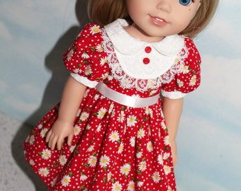 14.5 Inch Doll (like Wellie Wishers) Red Daisy & Dot Print Puff Sleeve Dress with White Bib Front and Collar