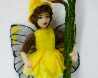 Felted Flower Fairy, Felt Spring Fairy, Daffodil Fairy, Easter Fairy needle felted