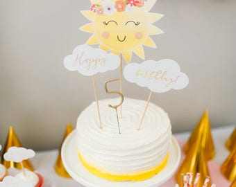 Printable Sunshine and Clouds Cake Topper - You Are My Sunshine