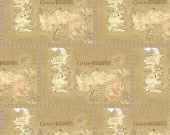 Game of Thrones Fabric, Map of Westeros Fabric - Springs Creative SPR64270-J370715 Tan - Priced by the 1/2 yard