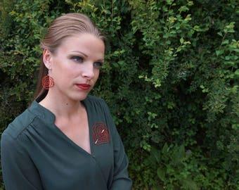 Rose | Lace Earrings | Floral Lace Earrings | Rose Earrings | Handmade Bobbin Lace Jewelry from Slovenia