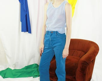 Vintage Blue Mesh Muscle Shirt Sheer Overlay tank in Extra Small or Small