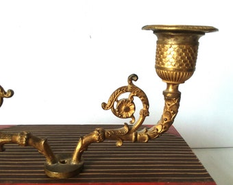 Antique Gilded Bronze Neoclassical Empire Candelabra Salvage Piece Candle-holders Found Items