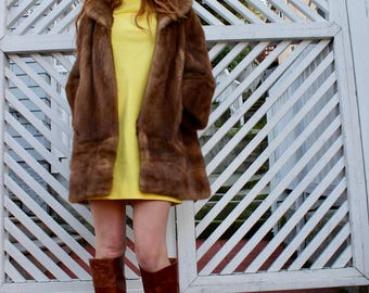 50's Mink Coat/ 50s Brown Mink Jacket/ Medium Length Mink Jacket/ 50's Light Brown Mink/ Designer Mink Coat/ Size Small/ Size Medium