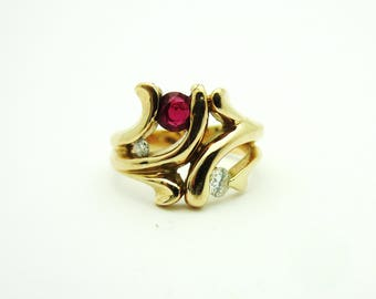 Estate Ruby and Diamond Openwork Abstract Ring 18k Rose Gold Sz 4.5 July Birthday