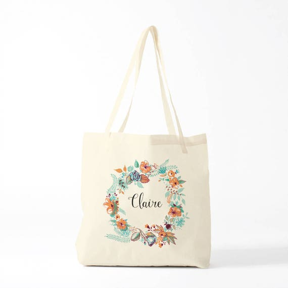 Tote Bag, Claire, custom, mint, name of your choice, birth gift, canvas bag name, custom tote bag, name on a bag, purse, groceries bag.