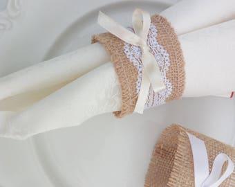 Napkin napkins Jute and lace Rustic napkin rings