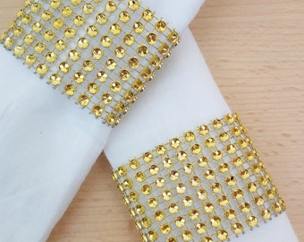 Gold bling with velcro closure gold nail polish diamond rhinestone wedding special event napkin rings