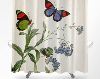 Butterfly Shower Curtain, Floral Shower Curtain, Botanical Shower Curtain, Butterfly  Bathroom Decor,