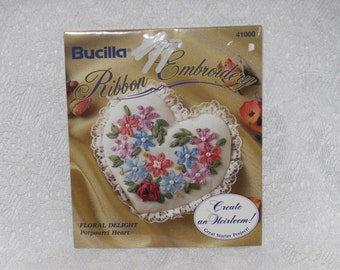 Bucilla Ribbon Embroidery Kit Floral Potpourri Heart Flowers Beads Lace