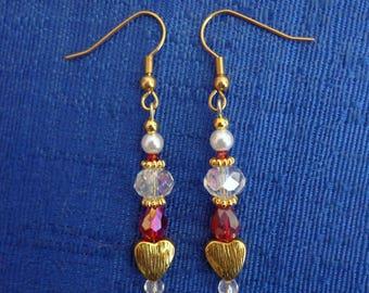 Gold Heart Earrings,Valentine Earrings, Valentine Jewelry,Heart Jewelry,Red Earrings,Pearl Earrings